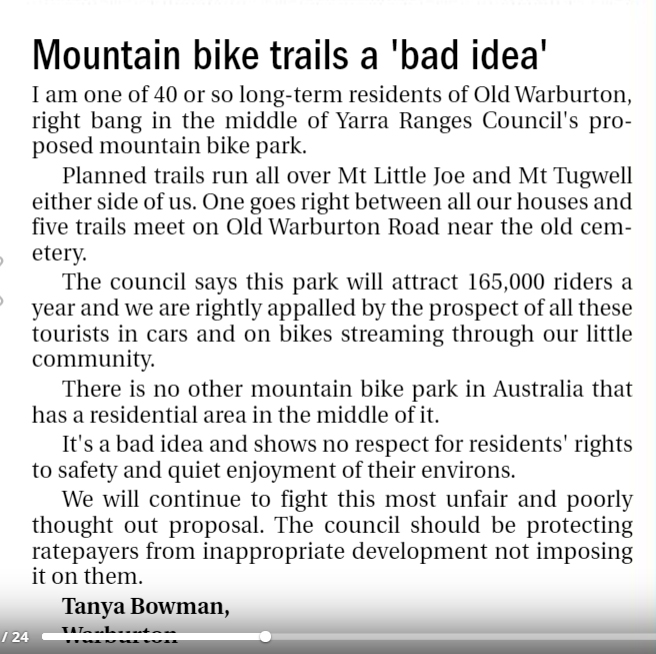mountain bike trails a 'bad idea'