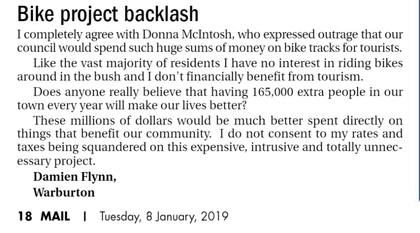 Bike Project Backlash - Letter to Editor Mail News 8 January 2019